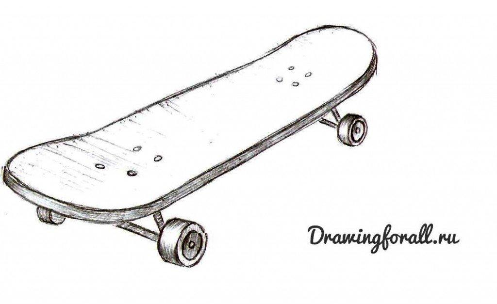 как нарисовать скейтборд карандашом