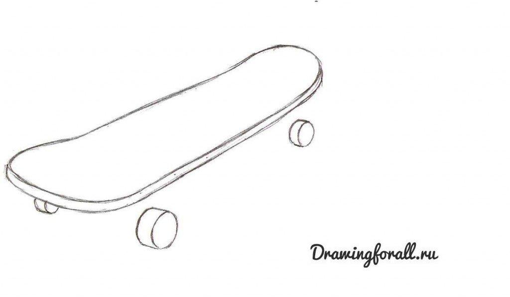 как нарисовать скейтборд поэтапно