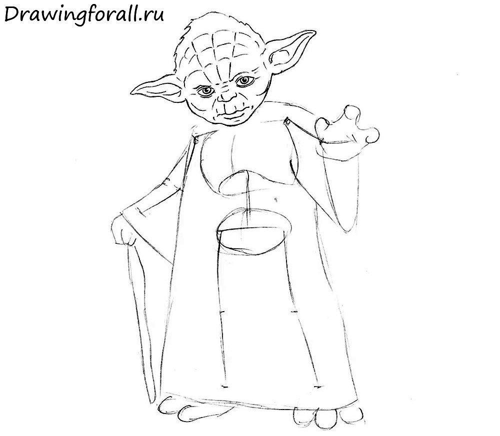 Как нарисовать магистра Йоду из Звёздных Войн