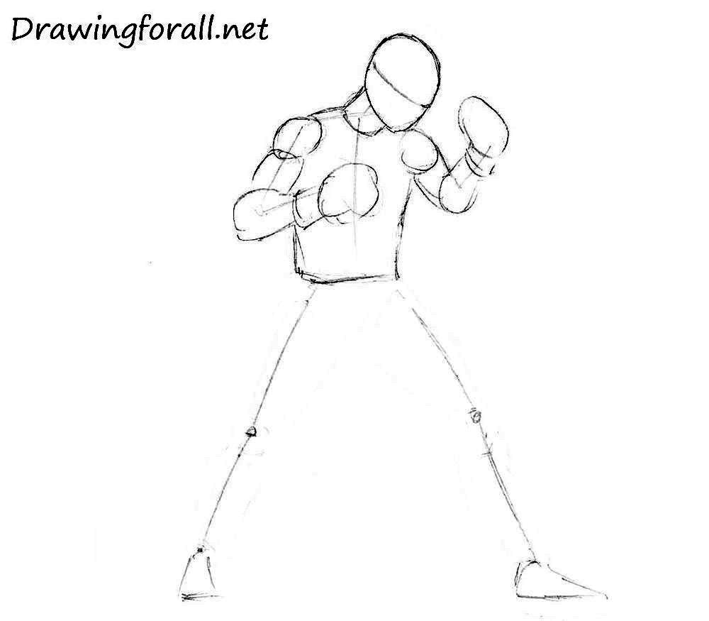 как нарисовать боксёра спортсмена