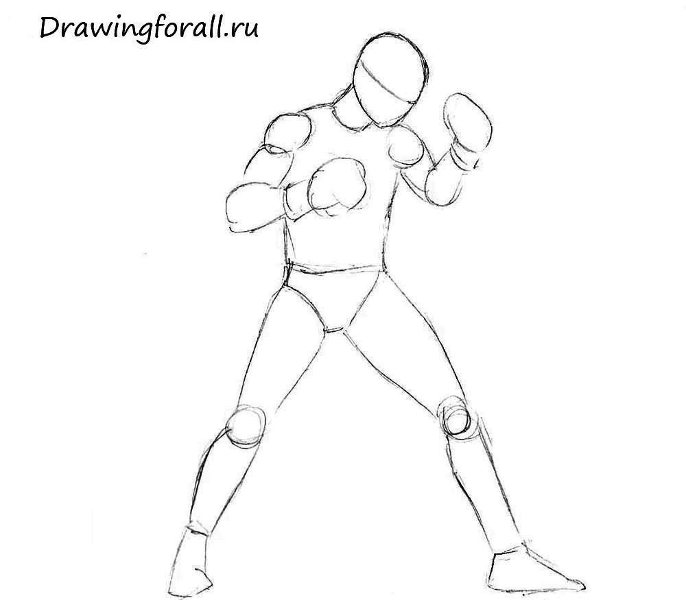 как нарисовать боксёра человека