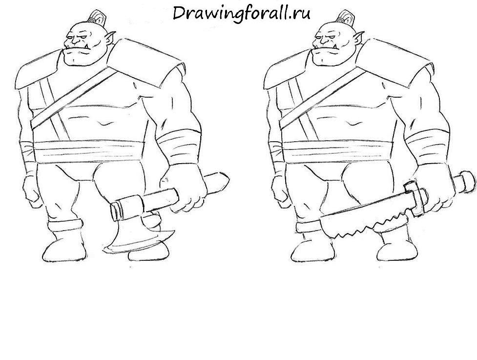 как нарисовать орка карандашом поэтапно для начинающих