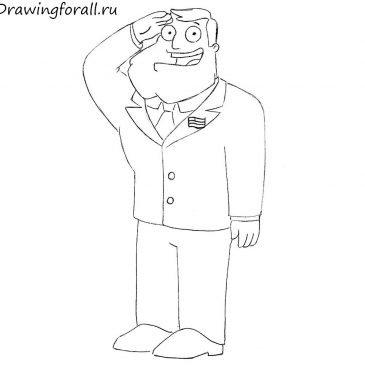Как нарисовать Американского Папашу карандашом поэтапно