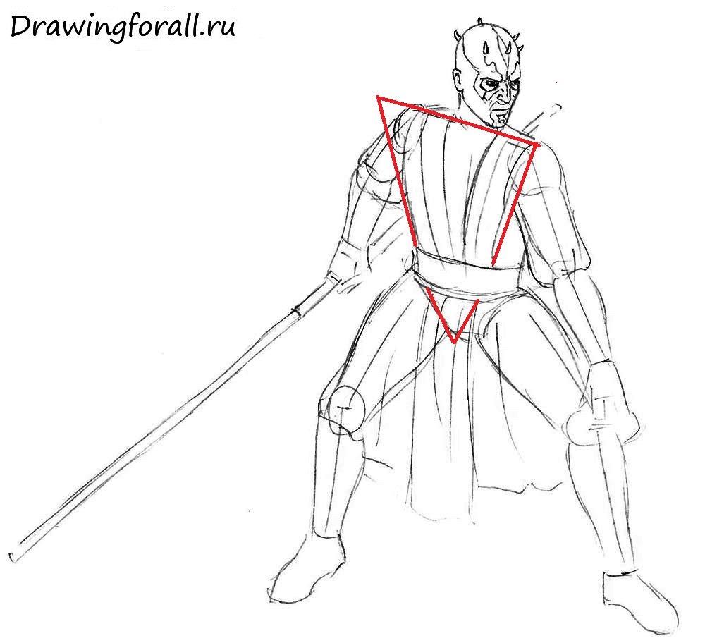 Как нарисовать Дарта мола поэтапно карандашом