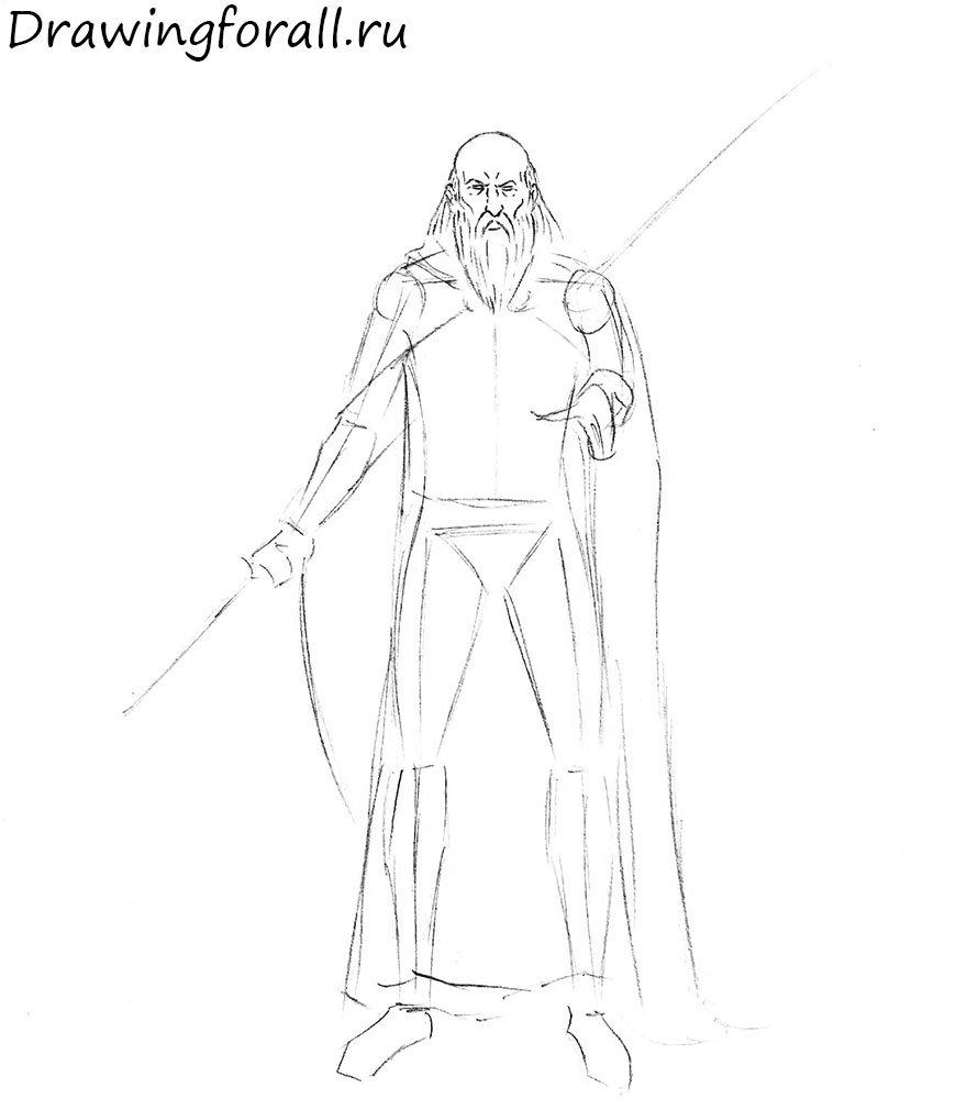 Как нарисовать волшебника шаг за шагом