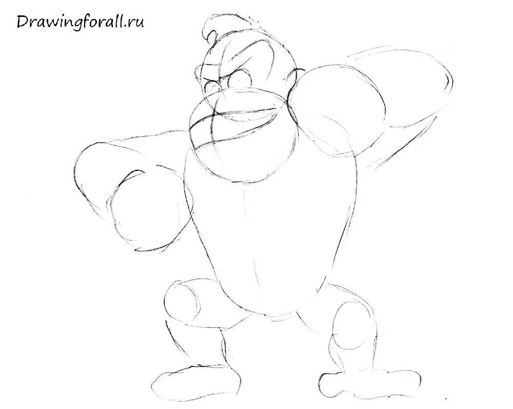 как нарисовать Донки Конга поэтапно