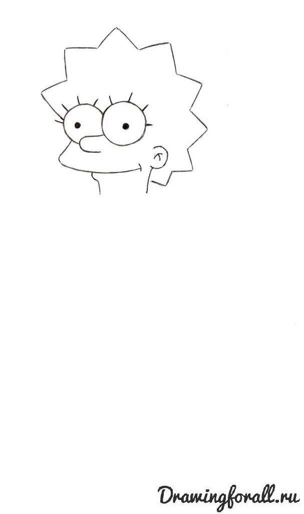 Как нарисовать Лизу Симпсон карандашом