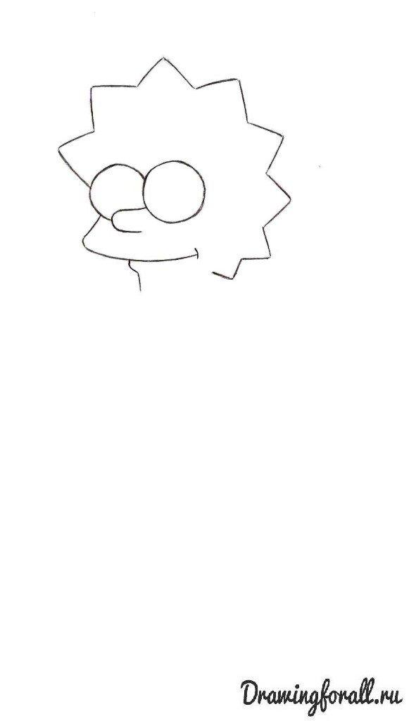 Как нарисовать Лизу Симпсон шаг за шагом