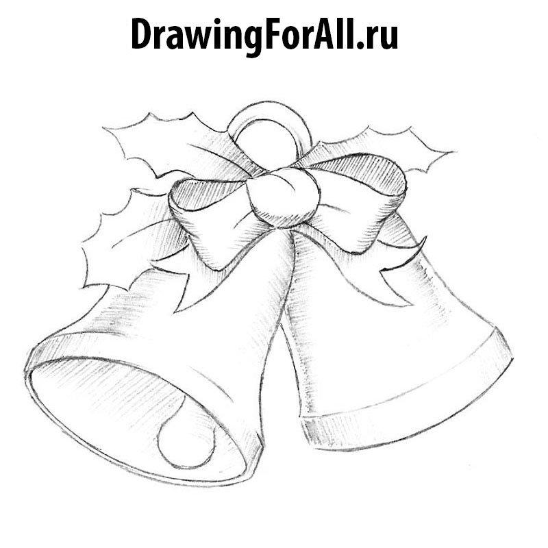Как нарисовать рождественские колокольчики