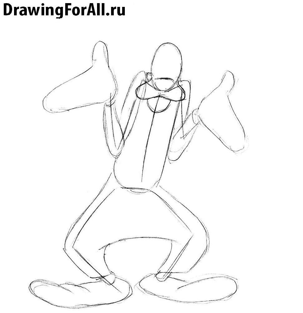 Как нарисовать Гуфи поэтапно
