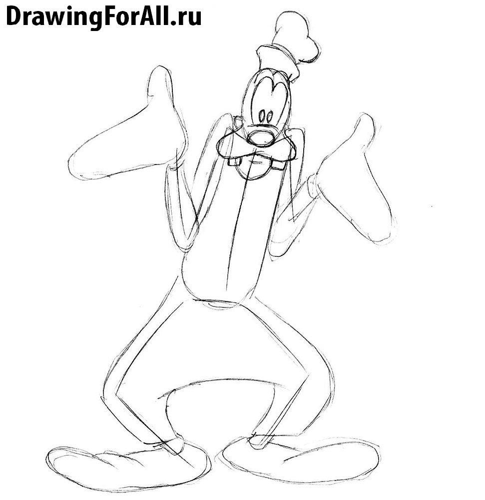 Как нарисовать Гуфи карандашом