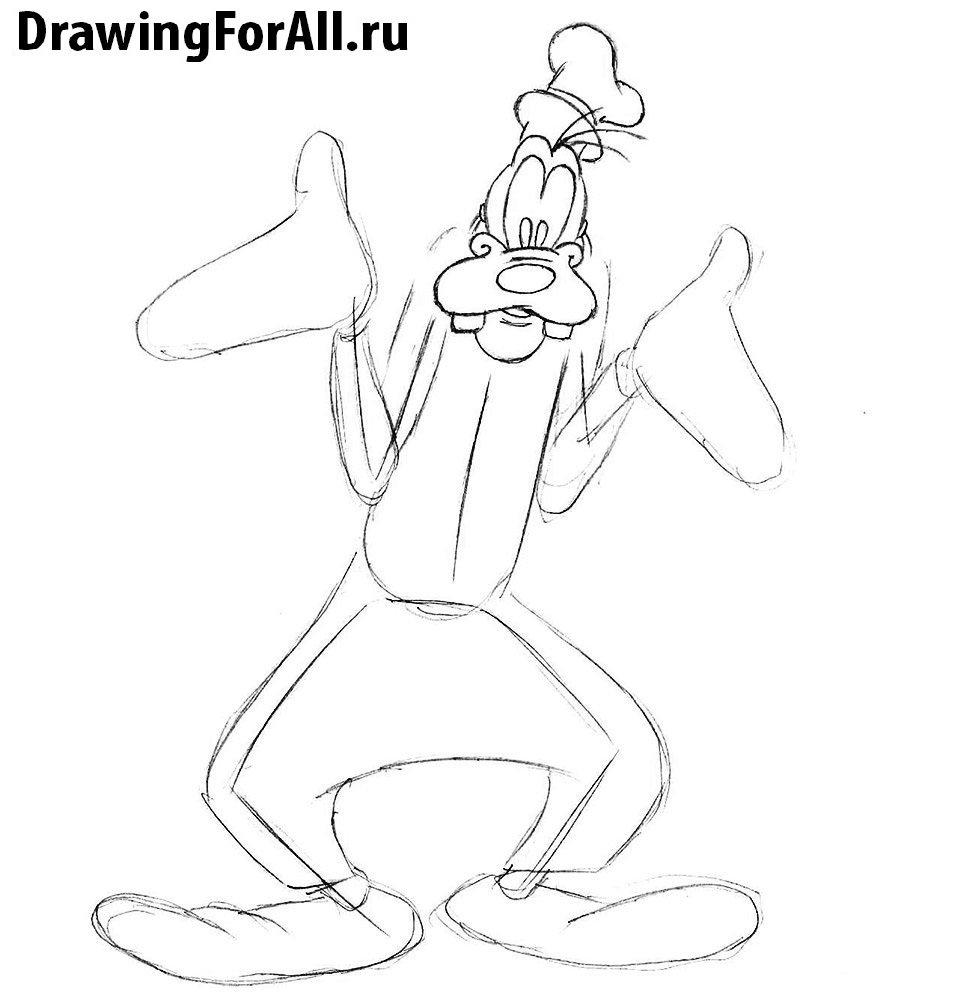 Как нарисовать Гуфи карандашом поэтапно
