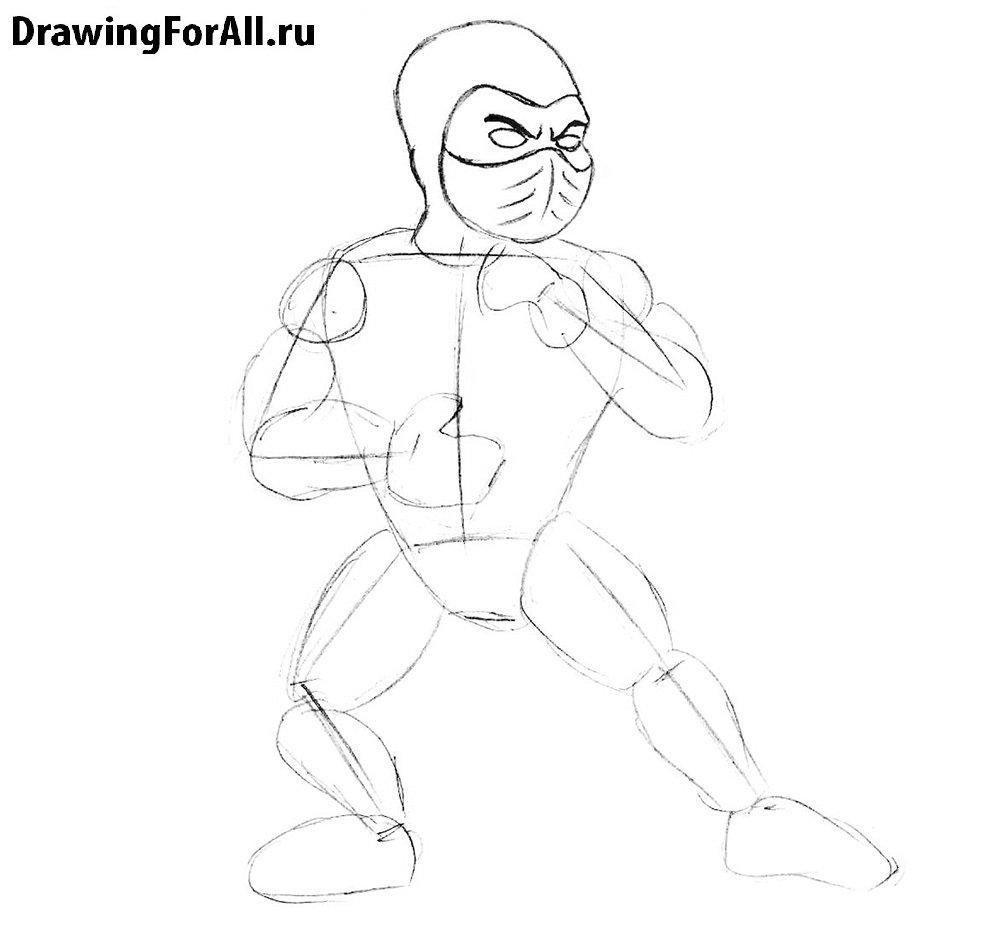 Как нарисовать героев Мортал Комбат для детей