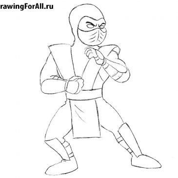 Как нарисовать Саб-Зиро для детей