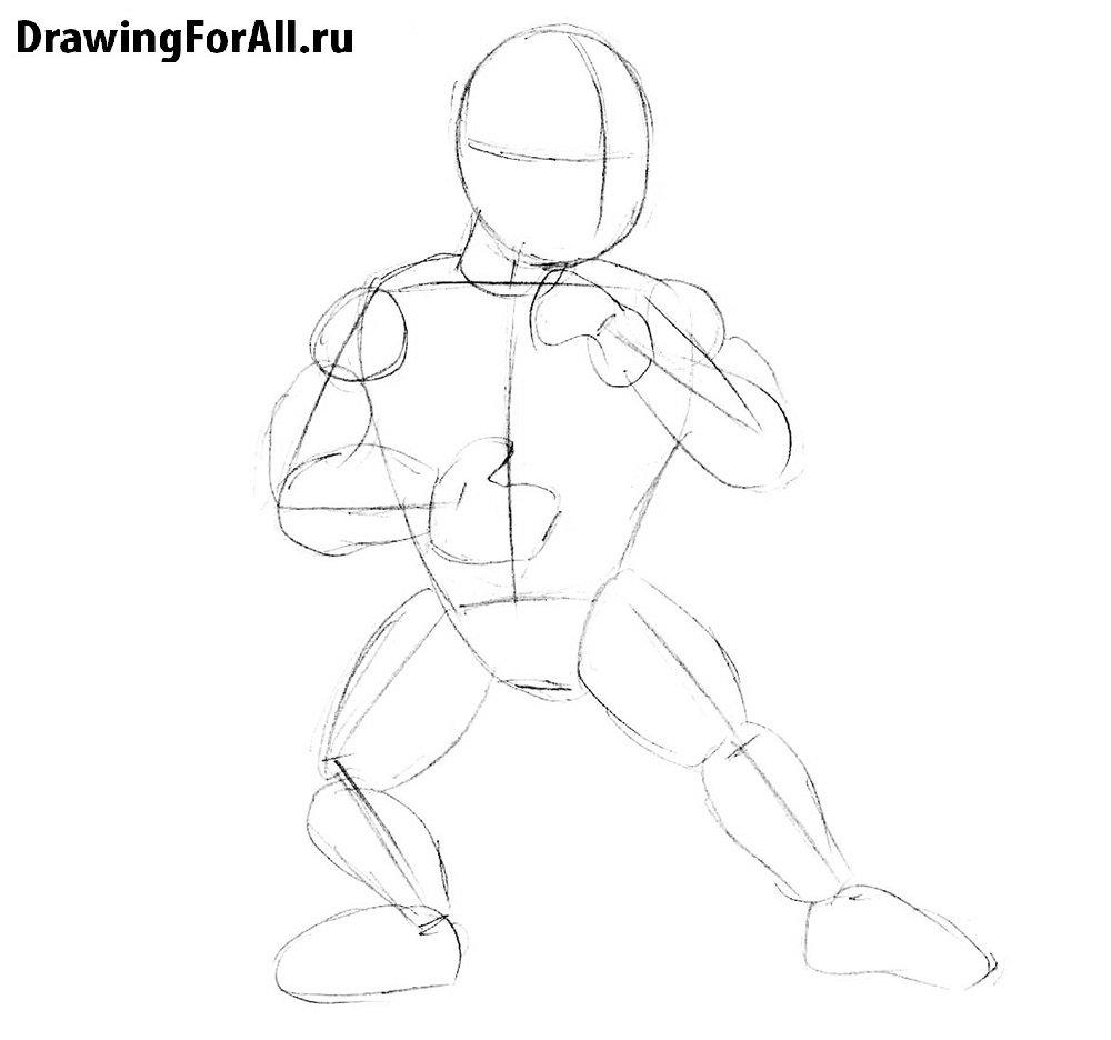 Как нарисовать Саб-Зиро для детей поэтапно