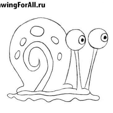 Как нарисовать Гэри из Спанч Боба