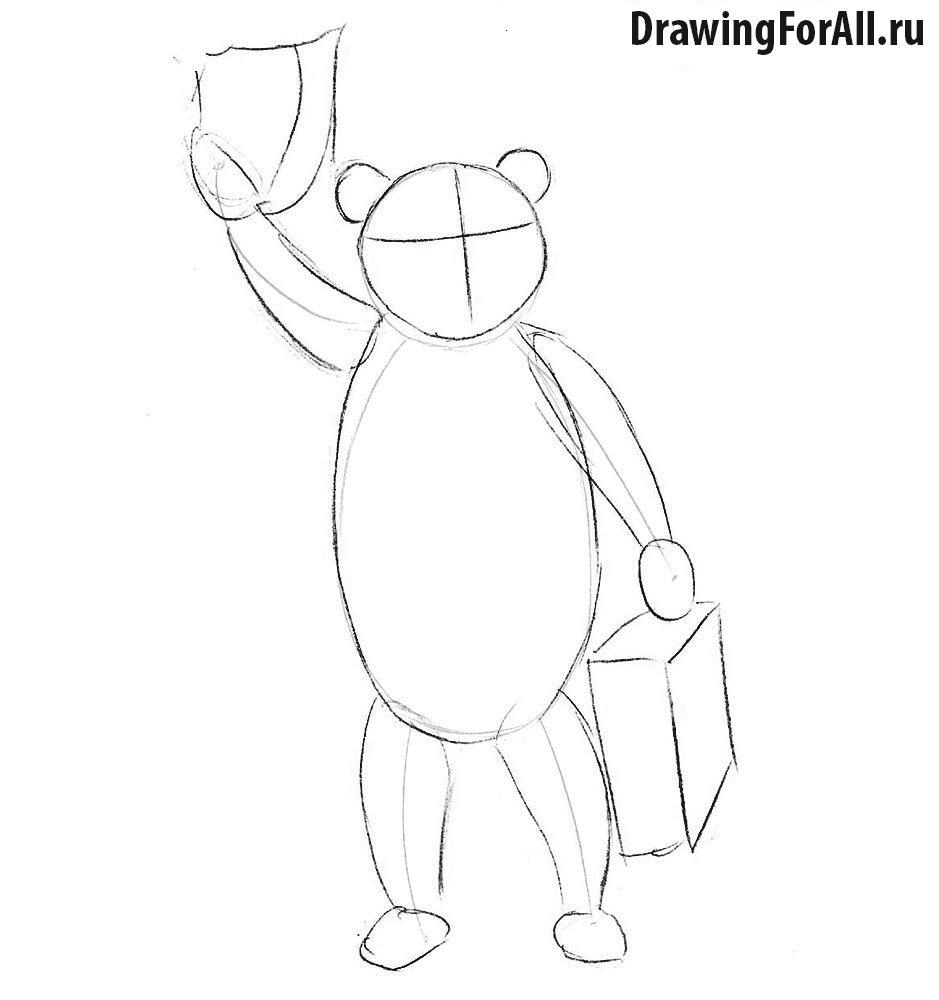 Как нарисовать медведя Паддингтона