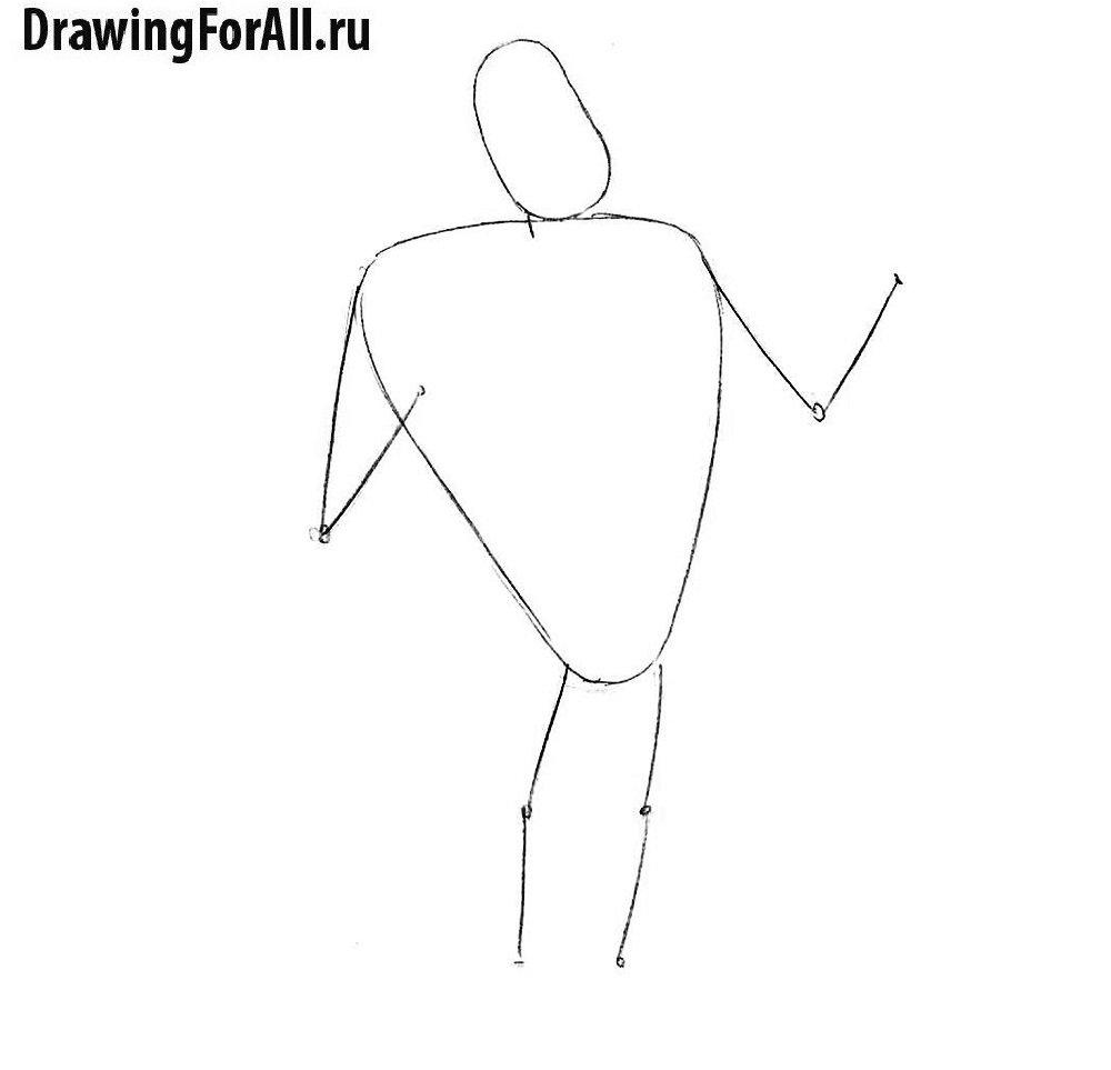Урок рисования Пола Баньяна - намечаем стикмен
