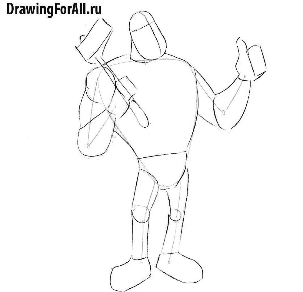 Урок рисования великана - рисуем фигуру