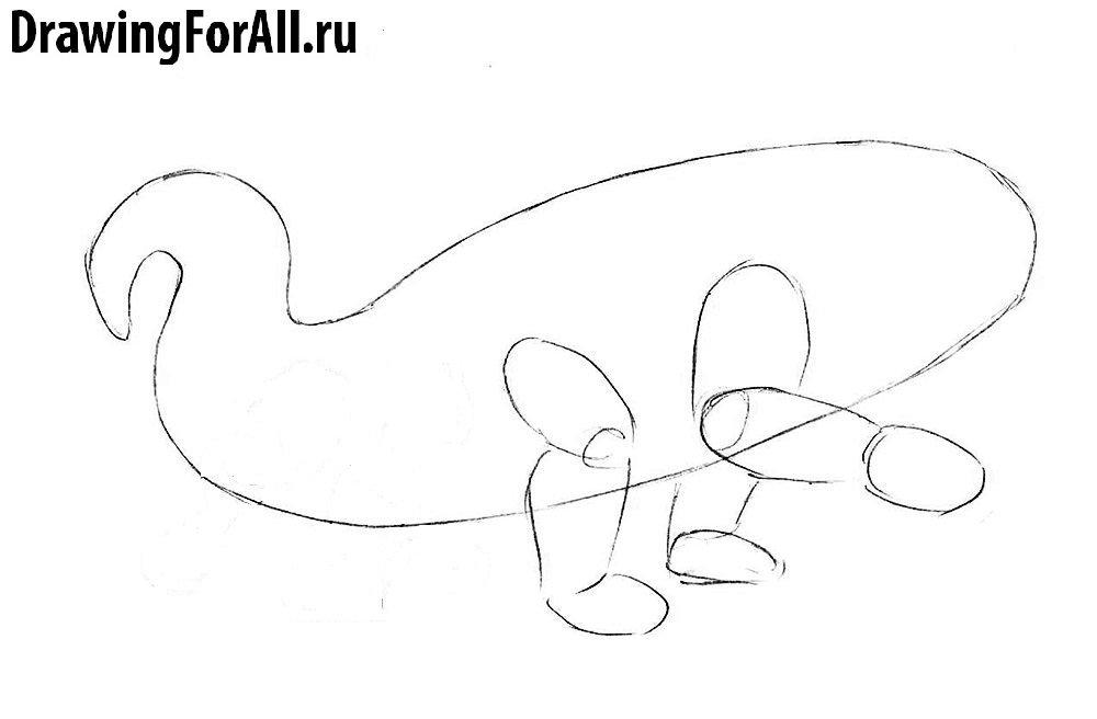 Как нарисовать Василиска - рисуем контуры передних лап