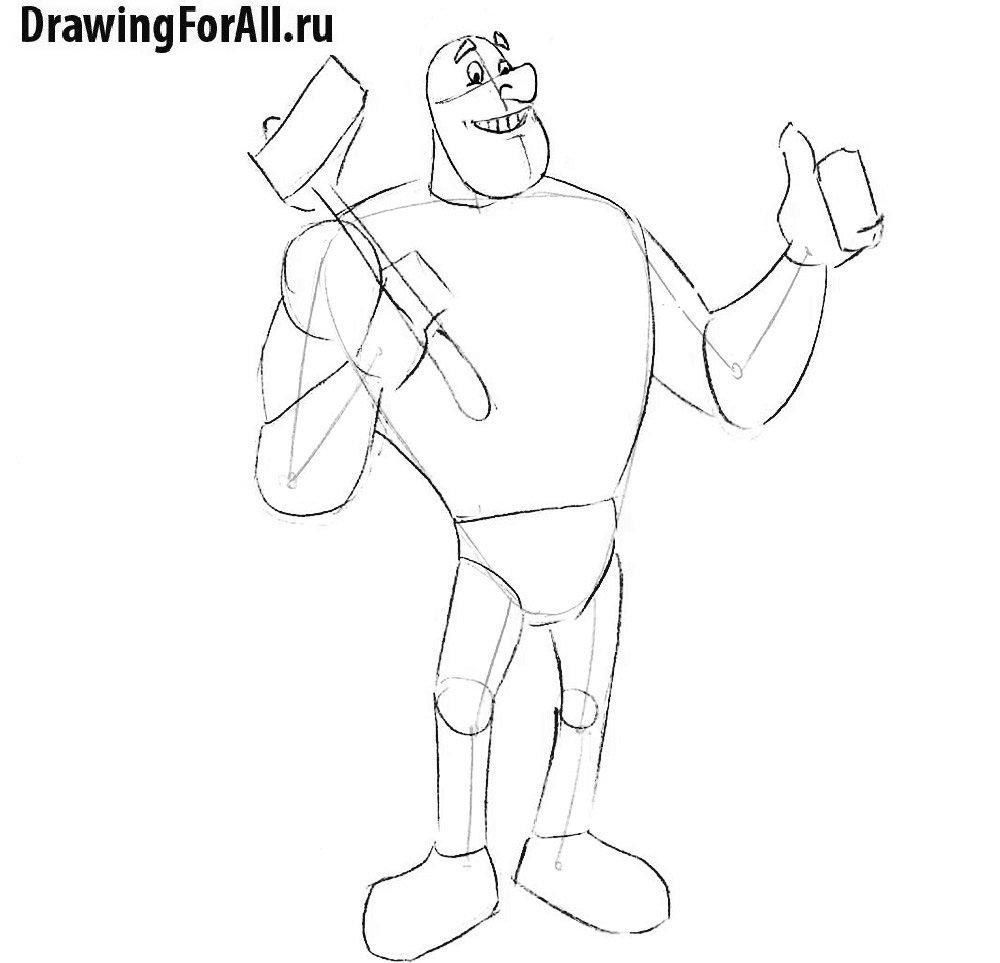 Как нарисовать великана Пола - рисуем лицо