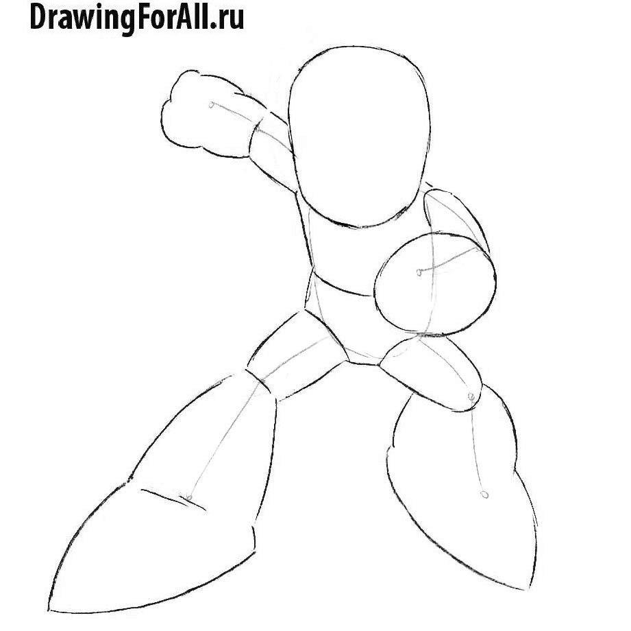 Урок рисования аниме Мегамена - окончательный силуэт