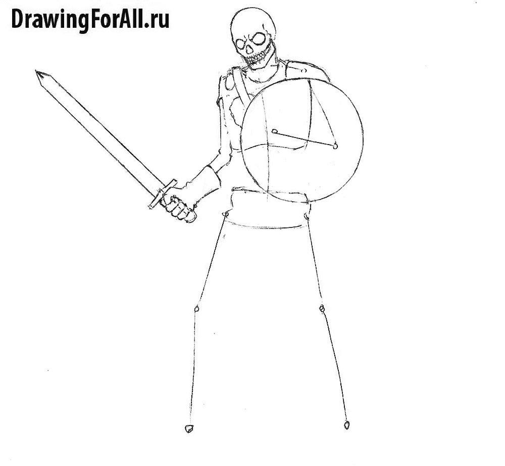Урок рисования воина-мертвеца, рисуем оружие