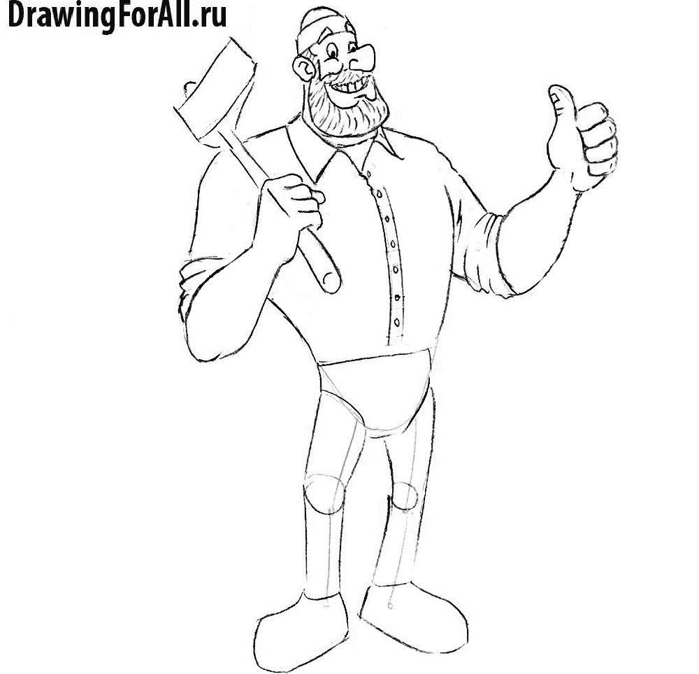 Как нарисовать Пола Баньяна - детализация туловища