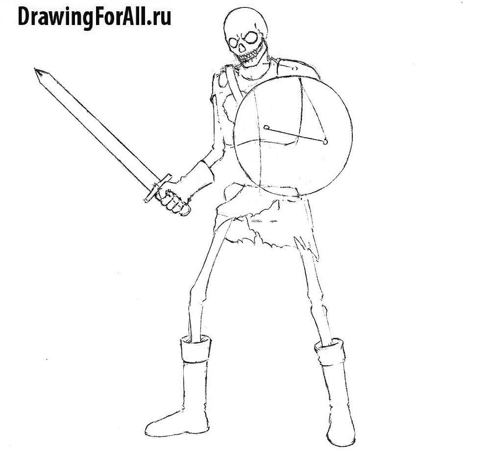 Урок рисования воина-нежити - рисуем нижние конечности