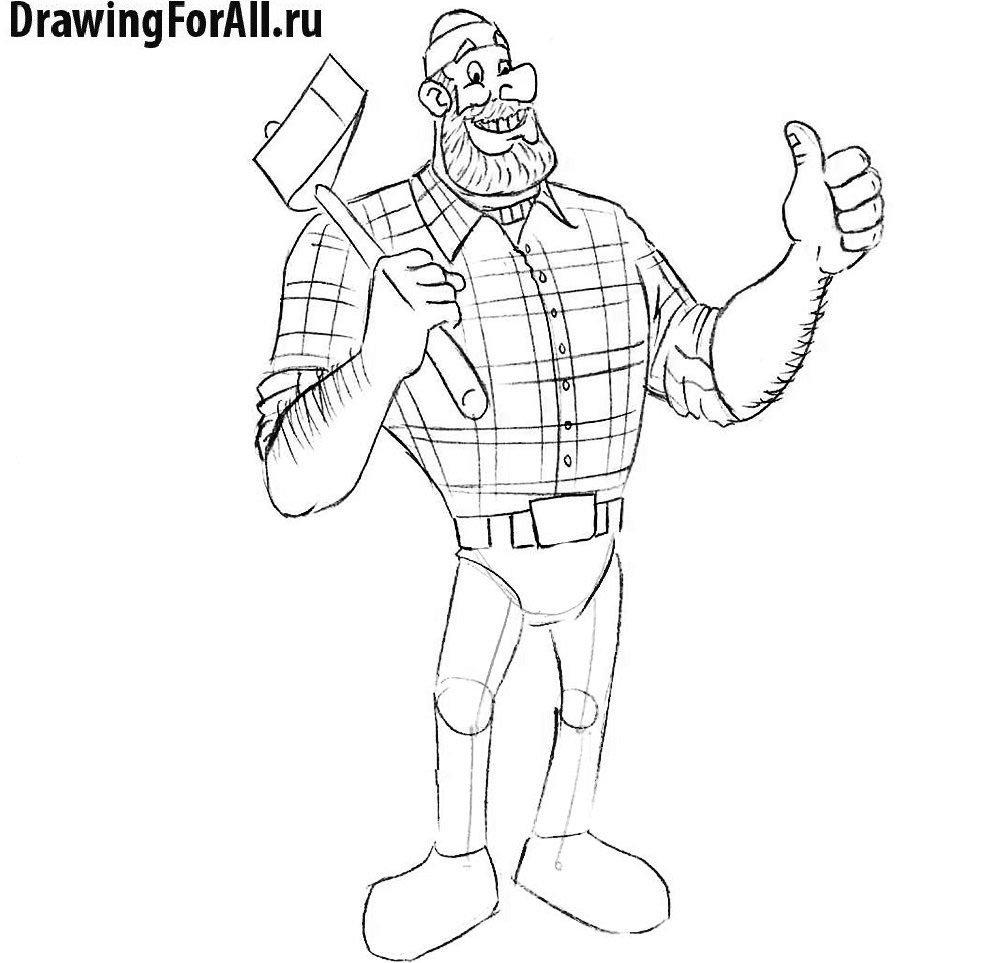 Как нарисовать великана - предпоследний этап, мелкие детали