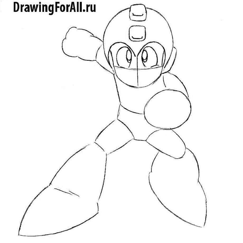 Урок рисования аниме Мегамена - лицо персонажа