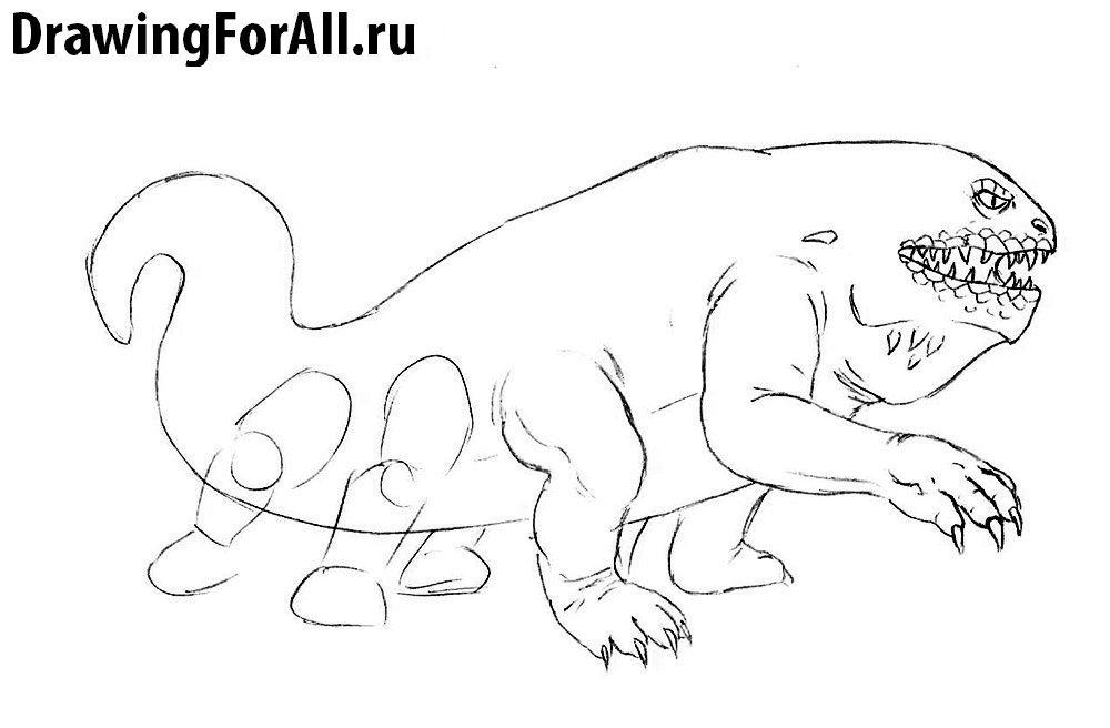 Как нарисовать Василиска - детализируем передние лапы