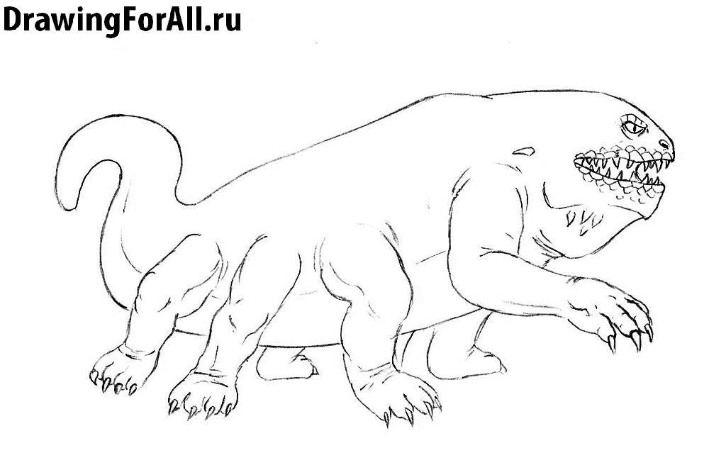 Как нарисовать Василиска - детализируем хвост и задние лапы