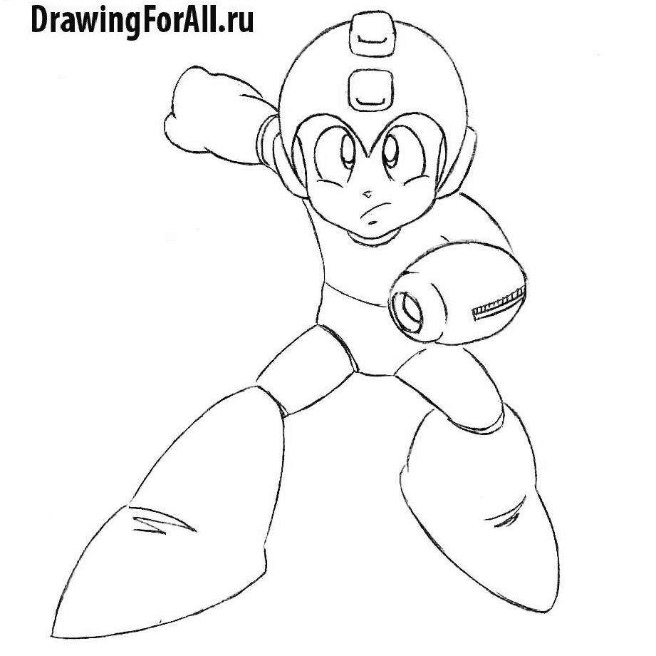 Урок рисования аниме-персонажа Мегамена - детализация