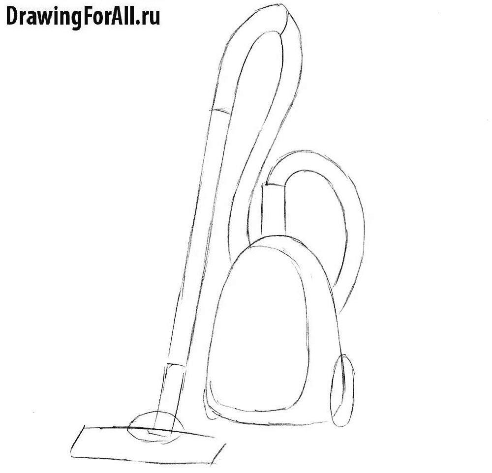 Урок рисования пылесоса - крышка и колёсики