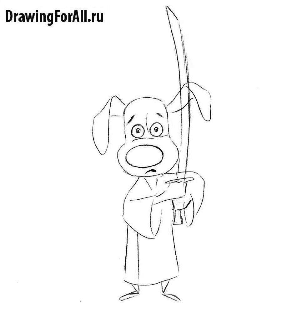 Как нарисовать Хэнка Самурая из мультфильма