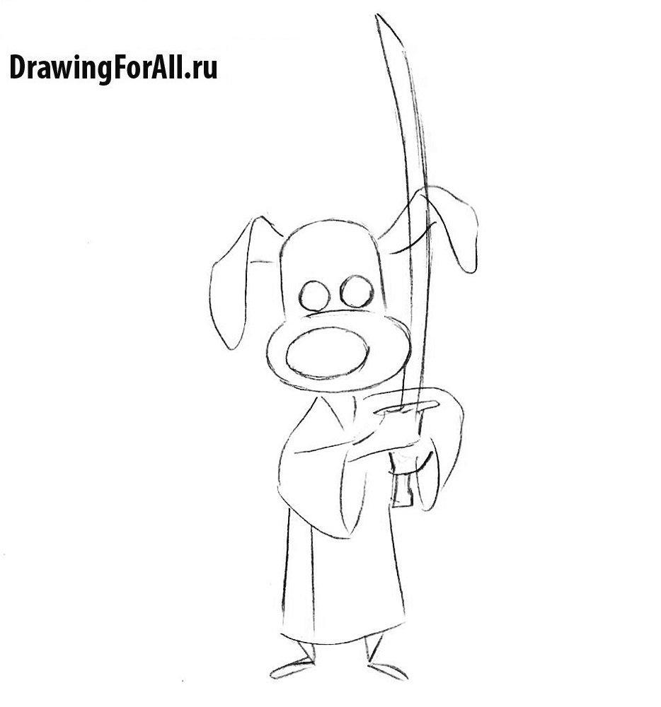 Как нарисовать сверкающего самурая из мультфильма