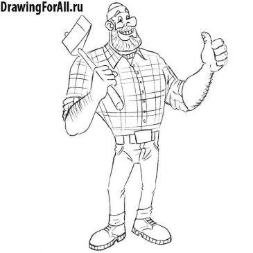 Как нарисовать великана Пола Баньяна