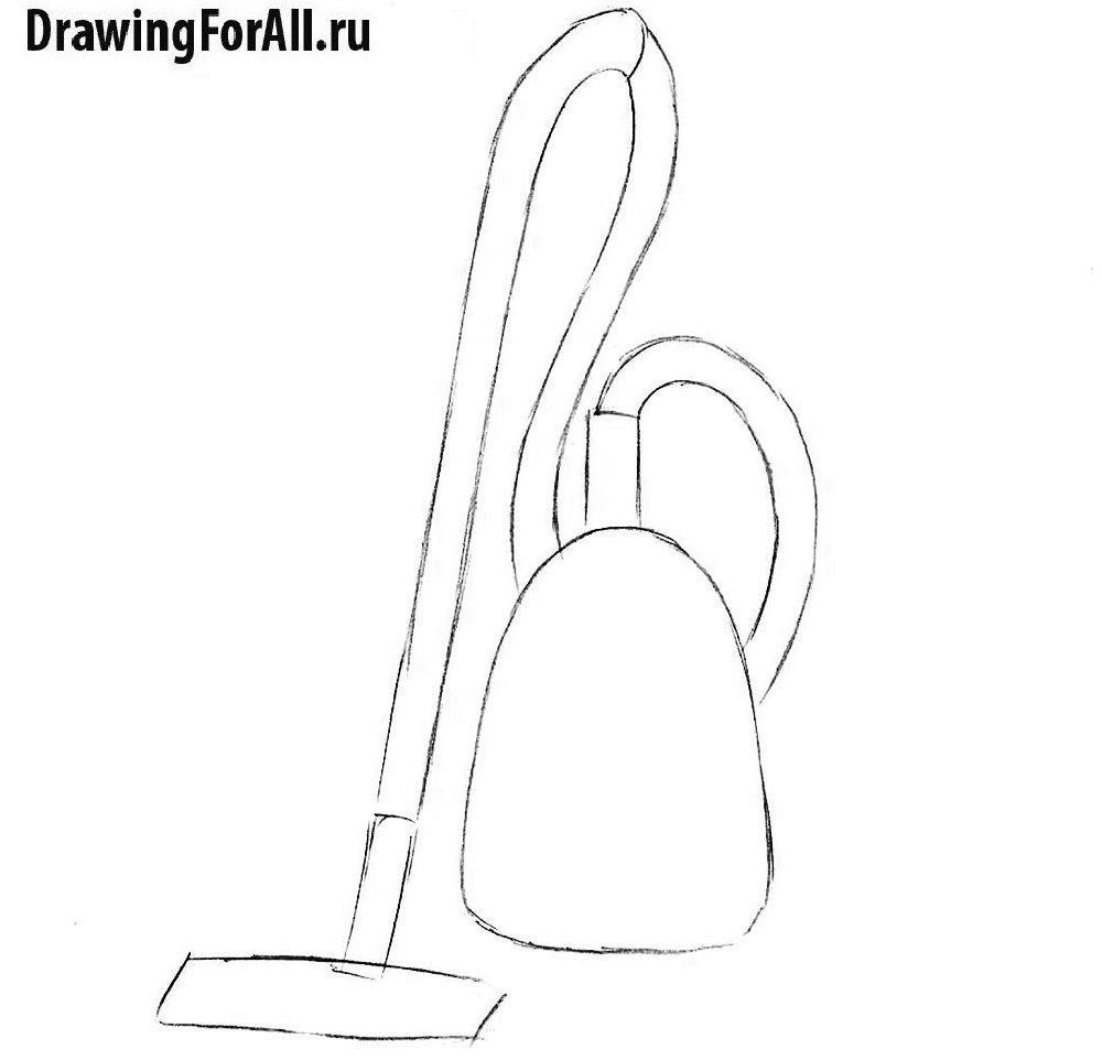 Урок рисования пылесоса - рисование шланга и щётки