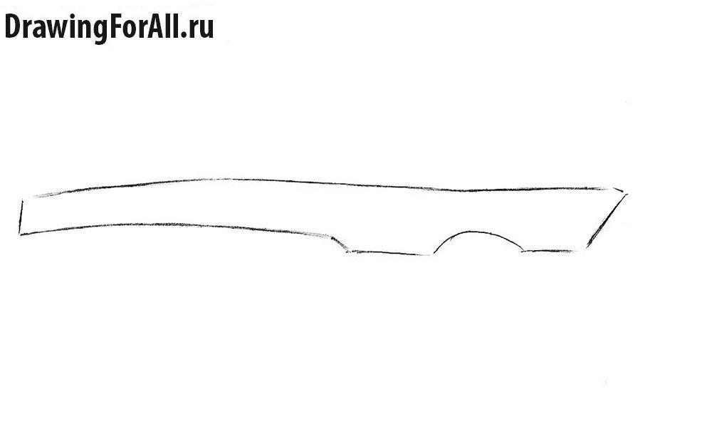 Как нарисовать арбалет поэтапно - шаг 1