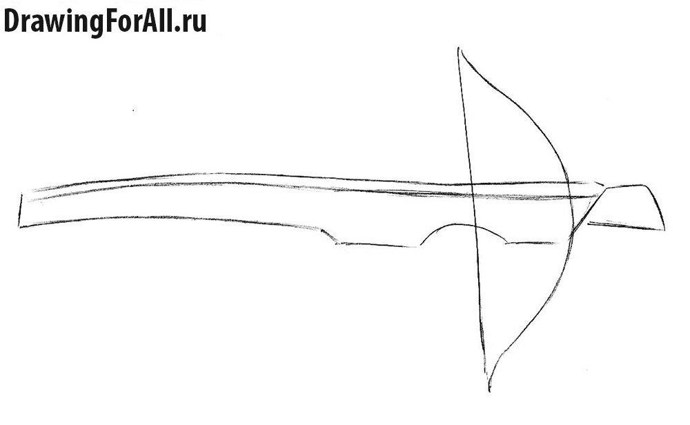 Как нарисовать арбалет - шаг 2, рисуем плечи