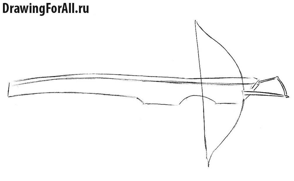 Как нарисовать арбалет - шаг 3