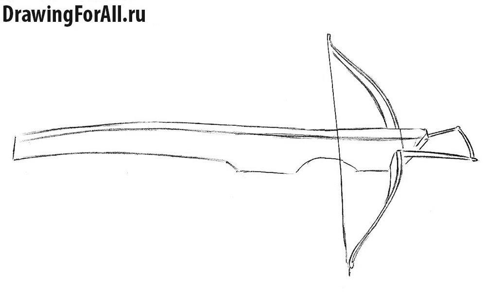 Как нарисовать арбалет поэтапно - шаг 4