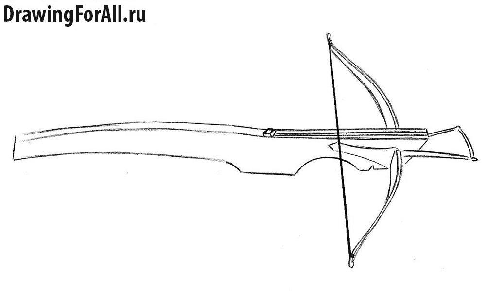 Как нарисовать арбалет поэтапно - шаг 5