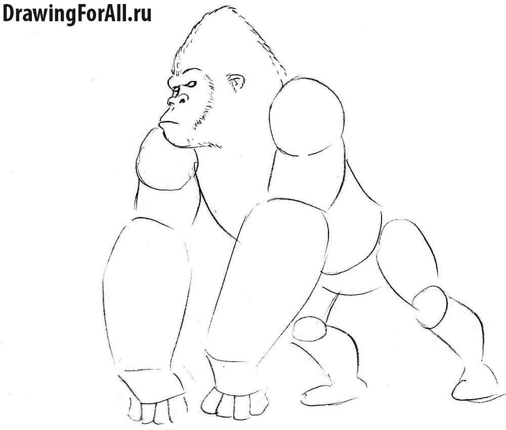Как нарисовать голову Кинг Конга