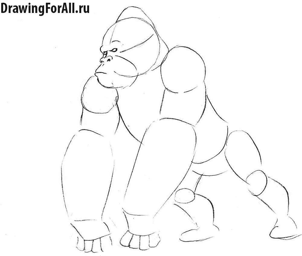 Как нарисовать Кинг Конга карандашом