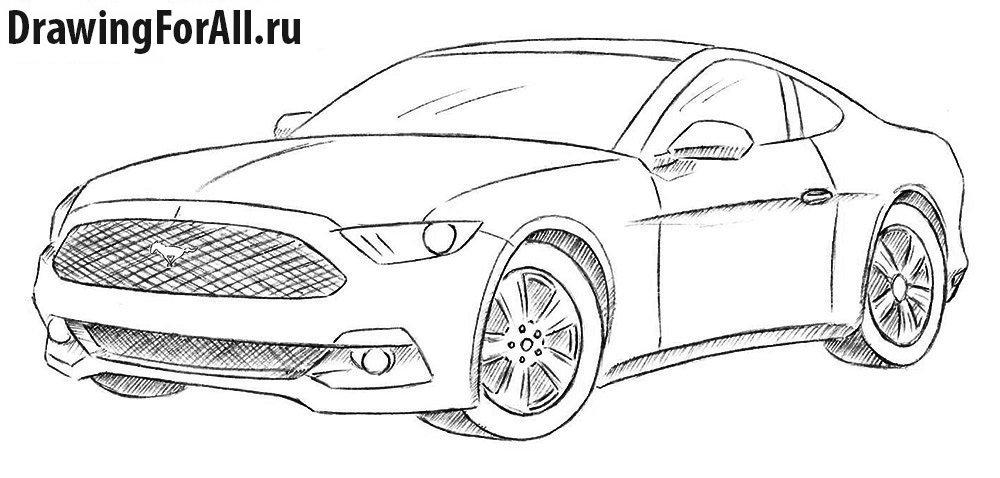 как нарисовать ford mustangby 500 карандашом