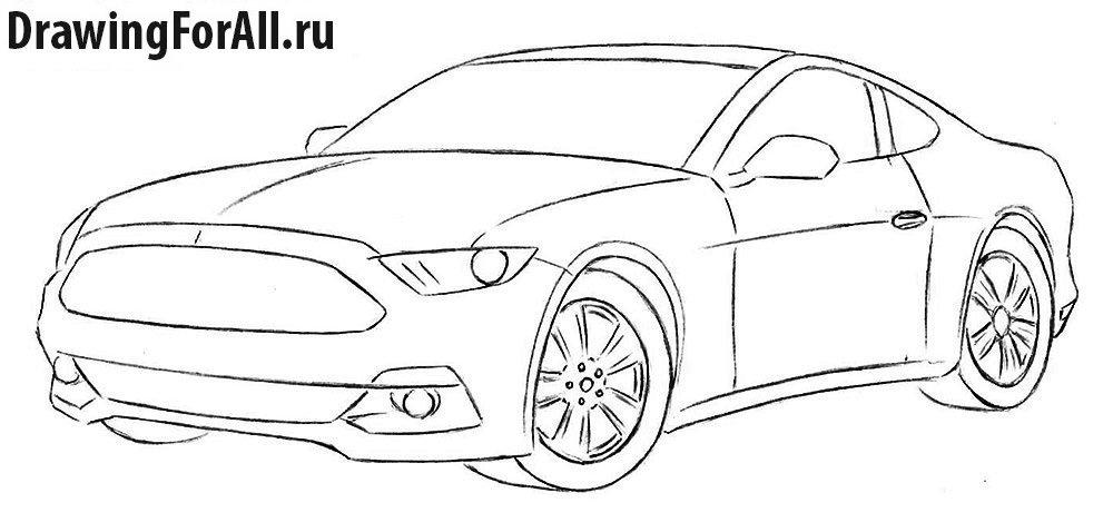 Как нарисовать машину Форд Мустанг карандашом