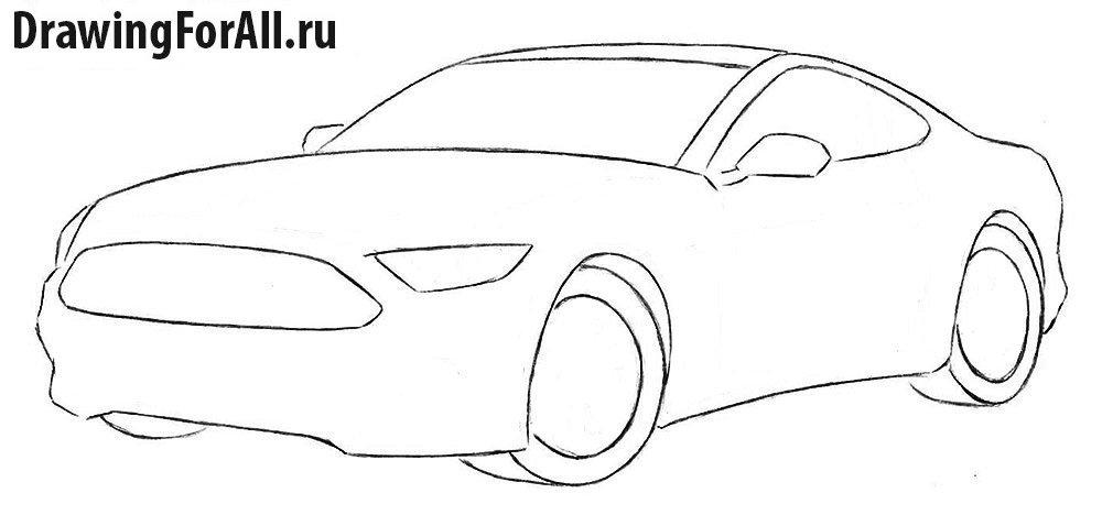 Как нарисовать Форд Мустанг карандашом поэтапно
