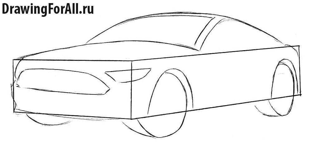 Нарисовать Форд Мустанг поэтапно